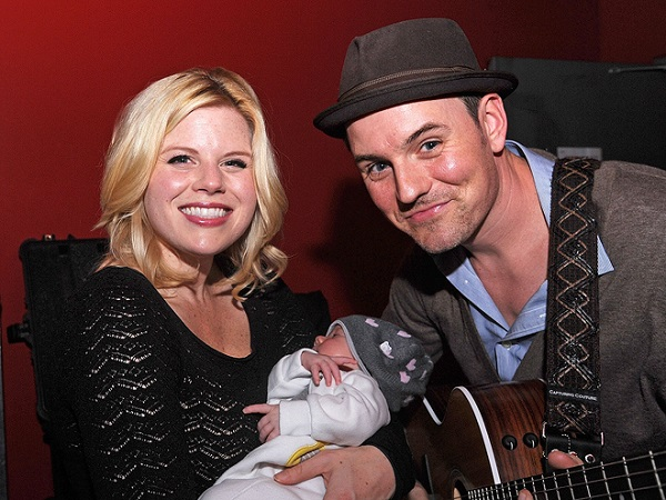 Brian Gallagher with his wife Megan Hilty and child; daughter