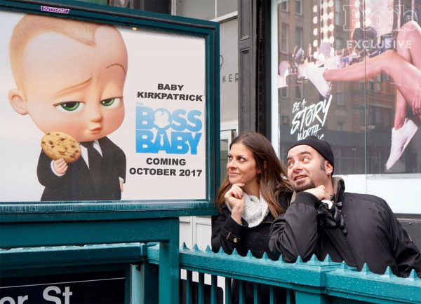 Source: People (Chris and Karly posing in front of Boss Baby poster )