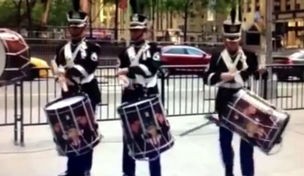 Three drummers at the Army's 240th birthday