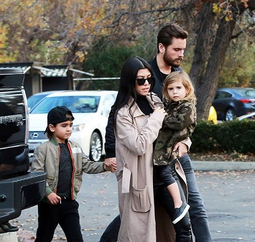 Scott Disick and his ex Kourtney Kardashian and children