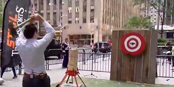 Pete throwing the blade at bulls-eye
