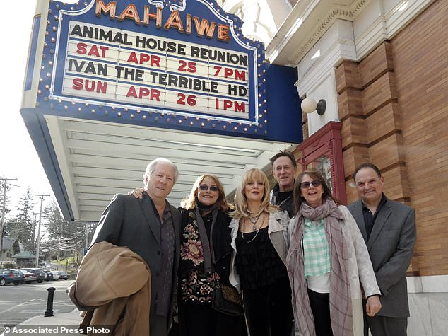 "In this April 25, 2015, file photo, Peter Riegert (Boon), Karen Allen (Katy), Martha Smith (Babs), Mark Metcalf (Niedermeyer), Judy Belushi, widow of John Belushi (Blutarsky), and Stephen Furst (Flounder) gather in front of the Mahaiwe at an ""Animal House"" reunion in Great Barrington, Mass. Furst's family says the ""Animal House"" actor has died. Nathan Furst said Saturday, June 17, 2017, that his father died of complications from diabetes. Stephen Furst was 63. He died Friday at his home in Moorpark, Calif., north of Los Angeles. (Ben Garver/The Berkshire Eagle via AP, File)"