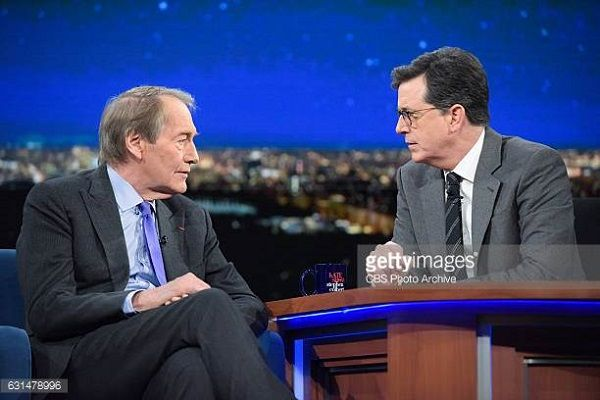 Source: Getty Images (Charlie Rose and Stephen Colbert)