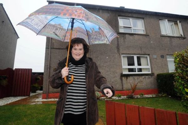 Source: Daily Record (Susan at her village and near her ex-council house)
