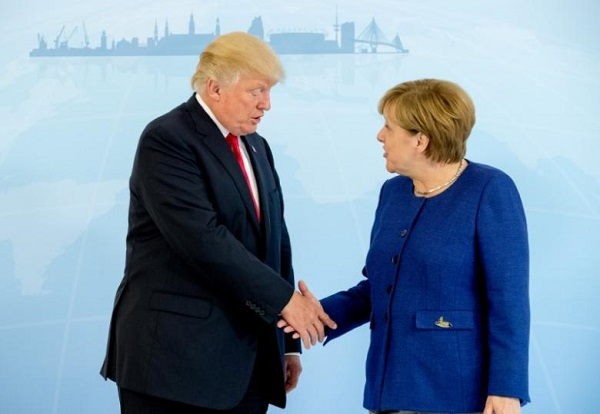Source: Reuters (German Chancellor Angela Merkel meets U.S. President Donald Trump on the eve of the G-20 summit in Hamburg, Germany, July 6, 2017)