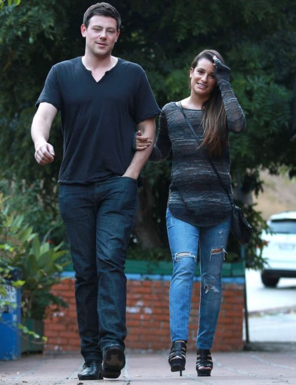 LOS ANGELES, CA - JULY 09: Actress Lea Michele and boyfriend Cory Monteith step out for a quiet early dinner at Pace restaurant on July 09, 2012 in Los Angeles, California. Lea and Cory cuddled up on their way out with Lea grabbing ahold of Cory's arm for comfort. PHOTOGRAPH BY AKM-GSI / Barcroft Media UK Office, London. T +44 845 370 2233 W www.barcroftmedia.com USA Office, New York City. T +1 212 796 2458 W www.barcroftusa.com Indian Office, Delhi. T +91 11 4053 2429 W www.barcroftindia.com