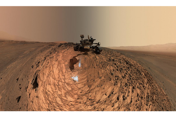 "Source: The Christian Science Monitor (Curiosity Mars rover took a low-angle self-portrait on Aug. 5, 2015, above the ""Buckskin"" rock target in the ""Marias Pass"" area of lower Mount Sharp.)"