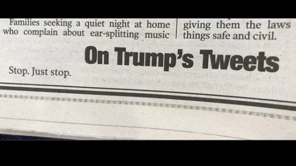 Source: The Hill (New York Post's THREE WORD EDITORIAL on Trump's controversial tweets)