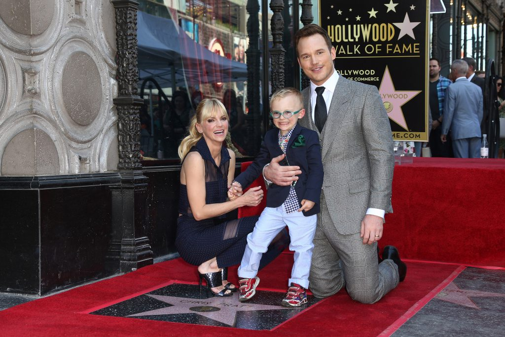 Anna Faris, Jack Pratt and Chris Pratt attend a Ceremony Honoring Chris Pratt With Star On The Hollywood Walk Of Fame on April 21, 2017 in Hollywood, California. (Photo by Tommaso Boddi/WireImage)