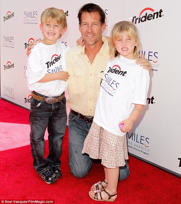Source: Daily Mail (James with kids Sheppard and Malin)