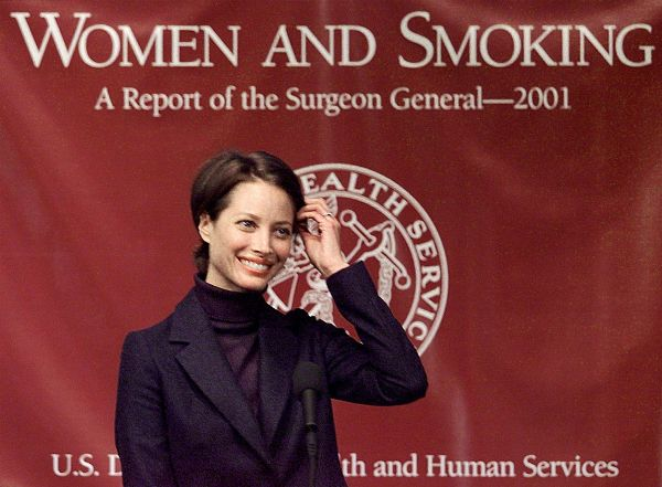 Source: Pinterest (Christy Turlington as a campaigner on anti-smoking)