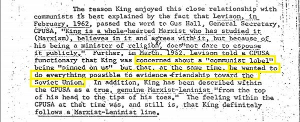 Friendship between Martin Luther King Jr and communist label