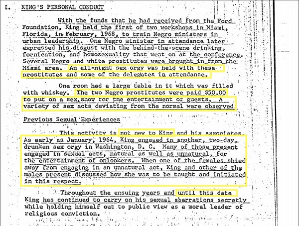 Martin Luther King Jr's personal life according to the file