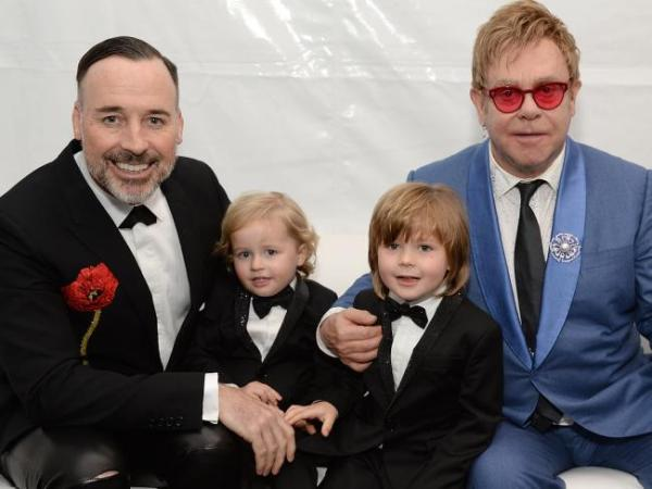 Source: Pinterest (Elton with his partner David and their two children)