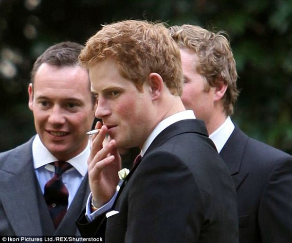 Source: Daily Mail (Prince Harry with his cigarettes)