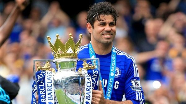 Diego Costa after winning the EPL title with Chelsea
