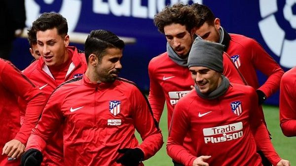 Diego Costa trained along with his team mates at Atletico Madrid