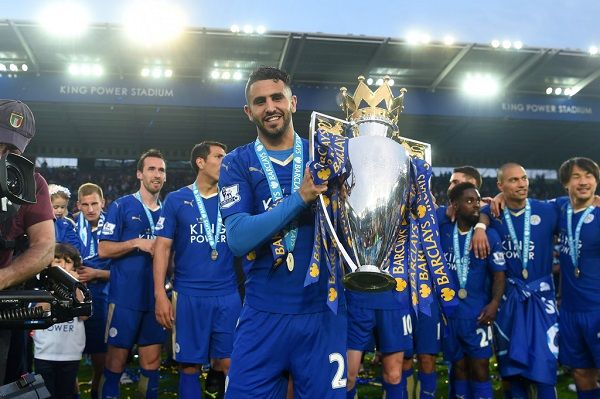Riyad Mahrez winning the EPL with Leicester City