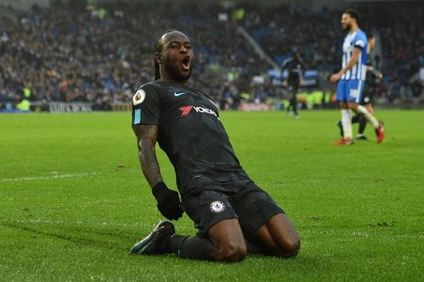 Victor Moses celebrating his goal against Brighton