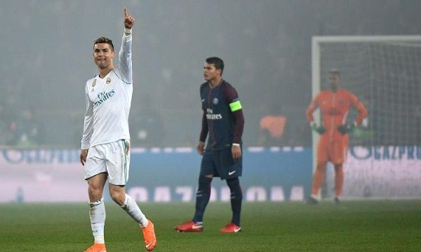 Cristiano Ronaldo after scoring against PSG