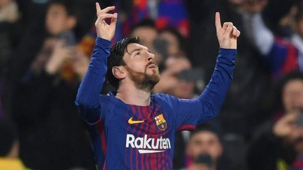 Lionel Messi after scoring against Chelsea
