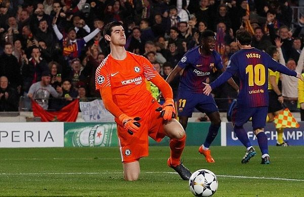 Lionel Messi scored between Thibaut Courtois legs