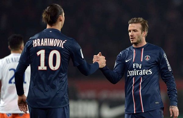 Zlatan Ibrahimovic and David Beckham at PSG