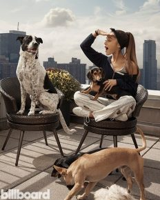 Singer Ariana Grande and her collection of pet dogs and one pig!