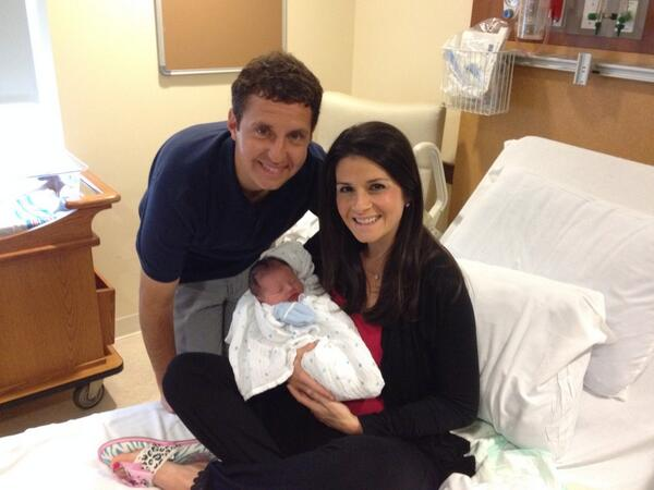 Andrew Catalon, wife Jessica Layton and child