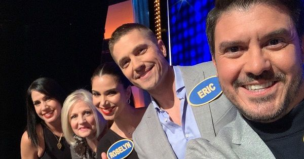 Eric Winter with his wife Roselyn Sanchez on Celebrity Family Feud