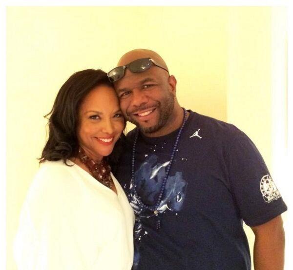 Wanya Morris with wife