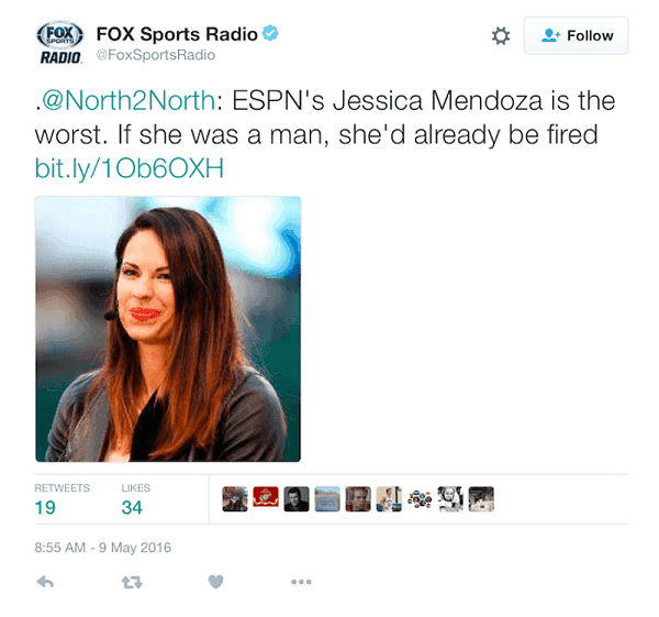 Fox Sports tweet on Jessica Mendoza