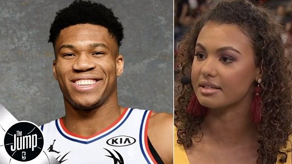 Malika Andrews and Giannis Antetokounmpo