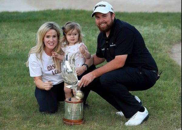 Shane Lowry with his wife and daughter