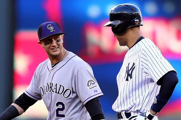 Troy Tulowitzki and Derek Jeter chatting at the 2014 MLB All-Star Game