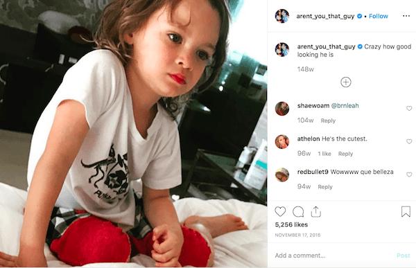 Austin Green's instagram post of Noah