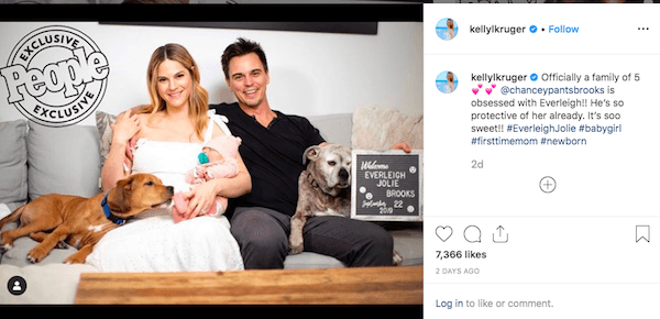 Darin Brooks and Kelly Kruger welcome their first baby girl
