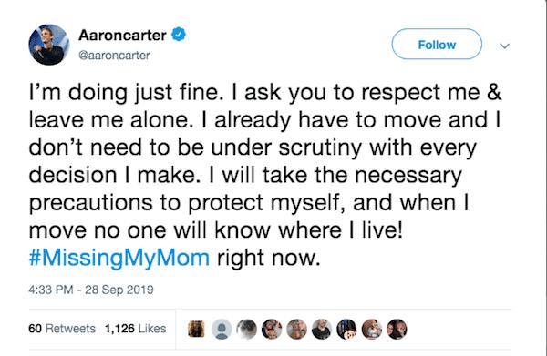 Aaron Carter tweets