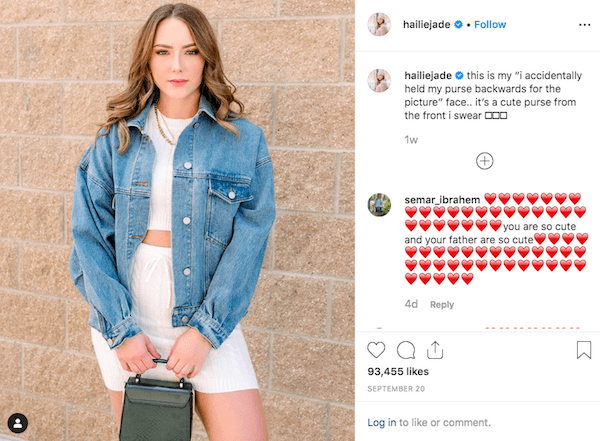 Hailie Mathers pointed out for slight mistake in her picture