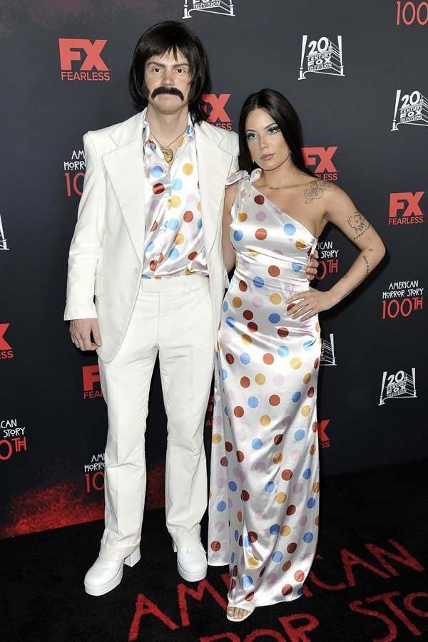 Halsey and Evan Peters hit the red carpet as Sonny and Cher