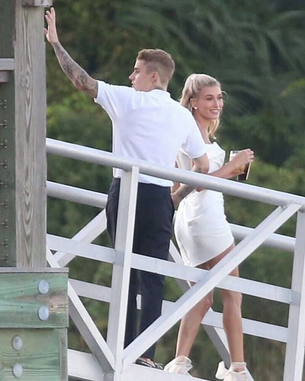 Justin and Hailey at their pre wedding cocktail party