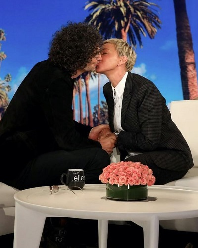 """""""King of All Media"""" Howard Stern makes his first appearance on The Ellen DeGeneres Show. Also offers her a kiss as a remedy to distract Ellen and viewers from thecontroversy received for laughing with President George W. Bush"""