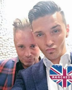 Britain's first gay parents, Tony and Barrie Drewitt-Barlow have split! Barrie is in a relationship with his daughter, Saffron's ex-boyfriend, Scott!