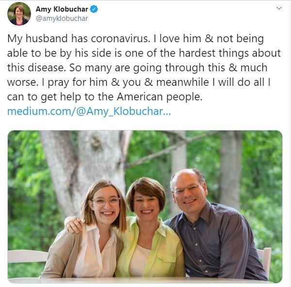 Amy Klobuchar husband John Bessler diagnosed with Covid-19