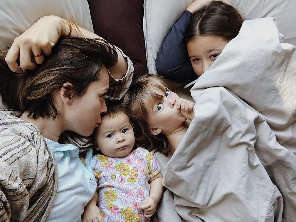 Ceren Alkac and her children